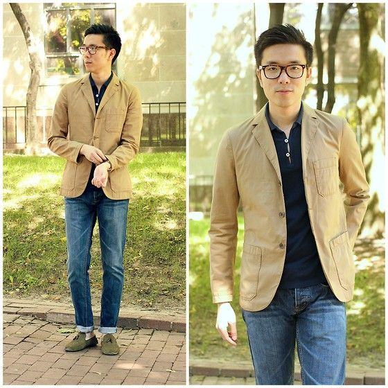 Image result for polo shirt with blazer and jeans