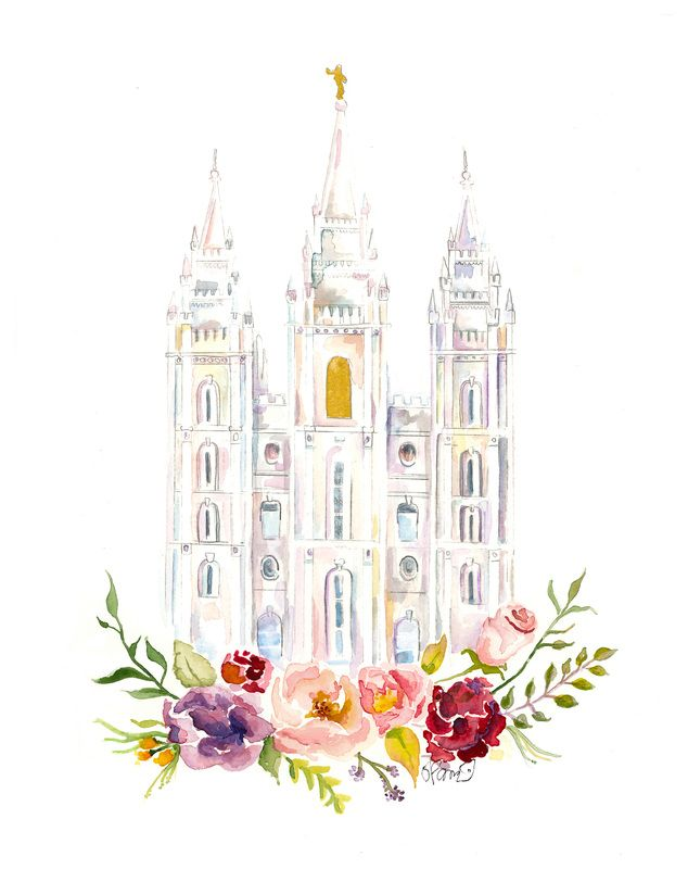 Salt Lake City Temple (LDS) watercolor available on etsy by Sweet n ...