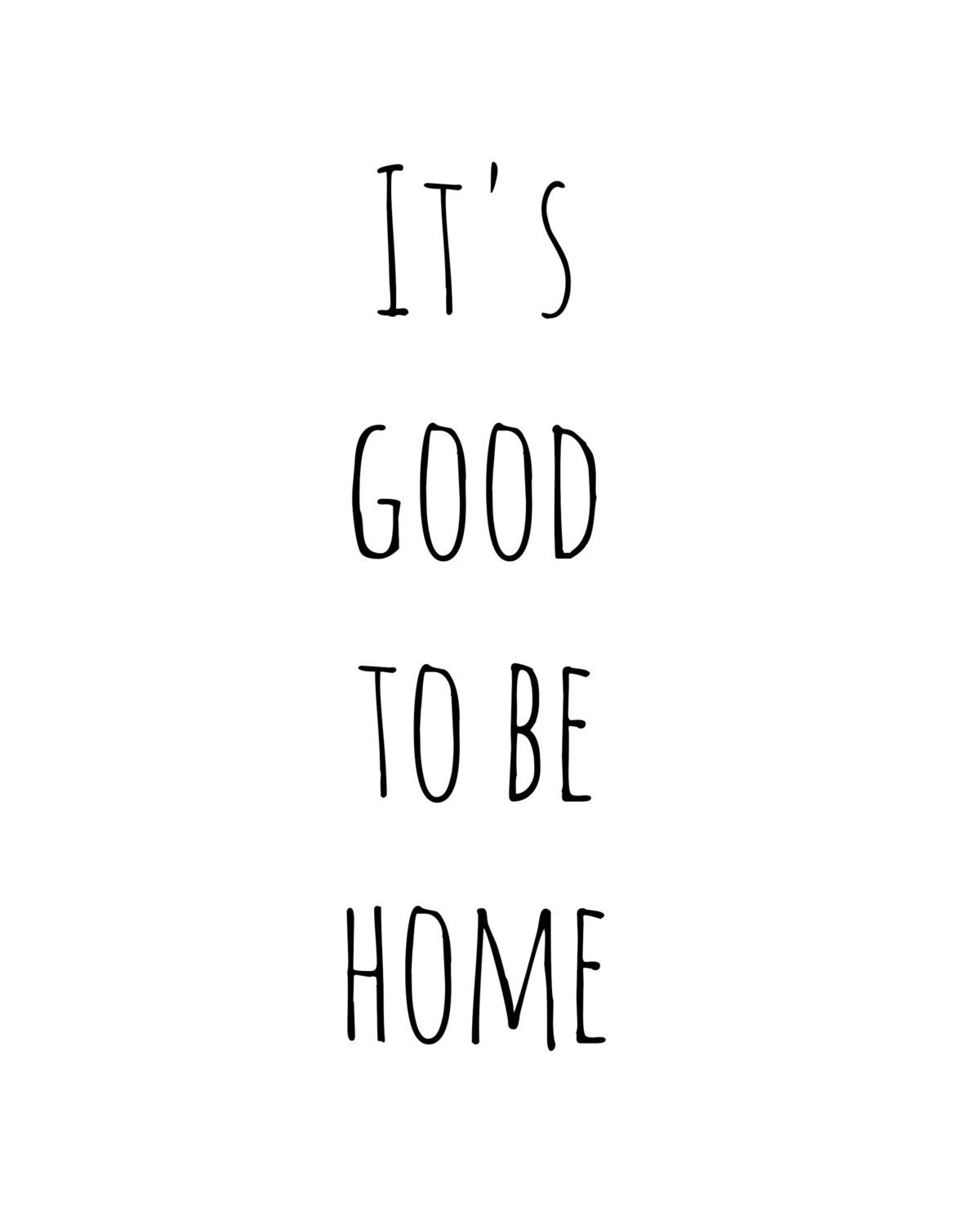 Its Good To Be Home Typography Print Digital Art Illustration
