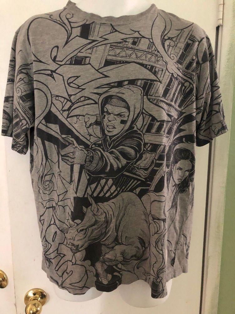 Vintage Marc Ecko Graffiti T Shirt Mens Medium Rhino Man Woman