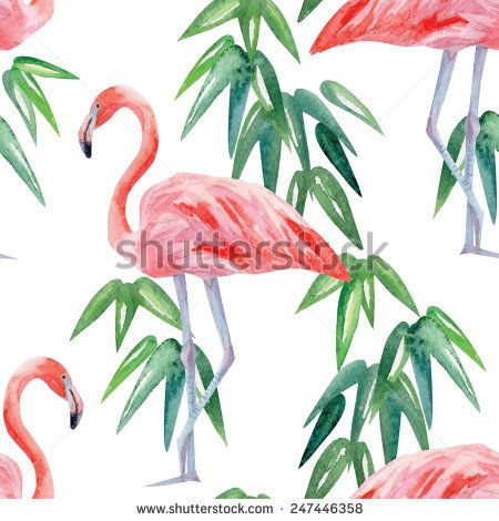 Tropical Leaves And Flamingo Wallpaper Stock Photos, Images, & Pictures | Shutterstock