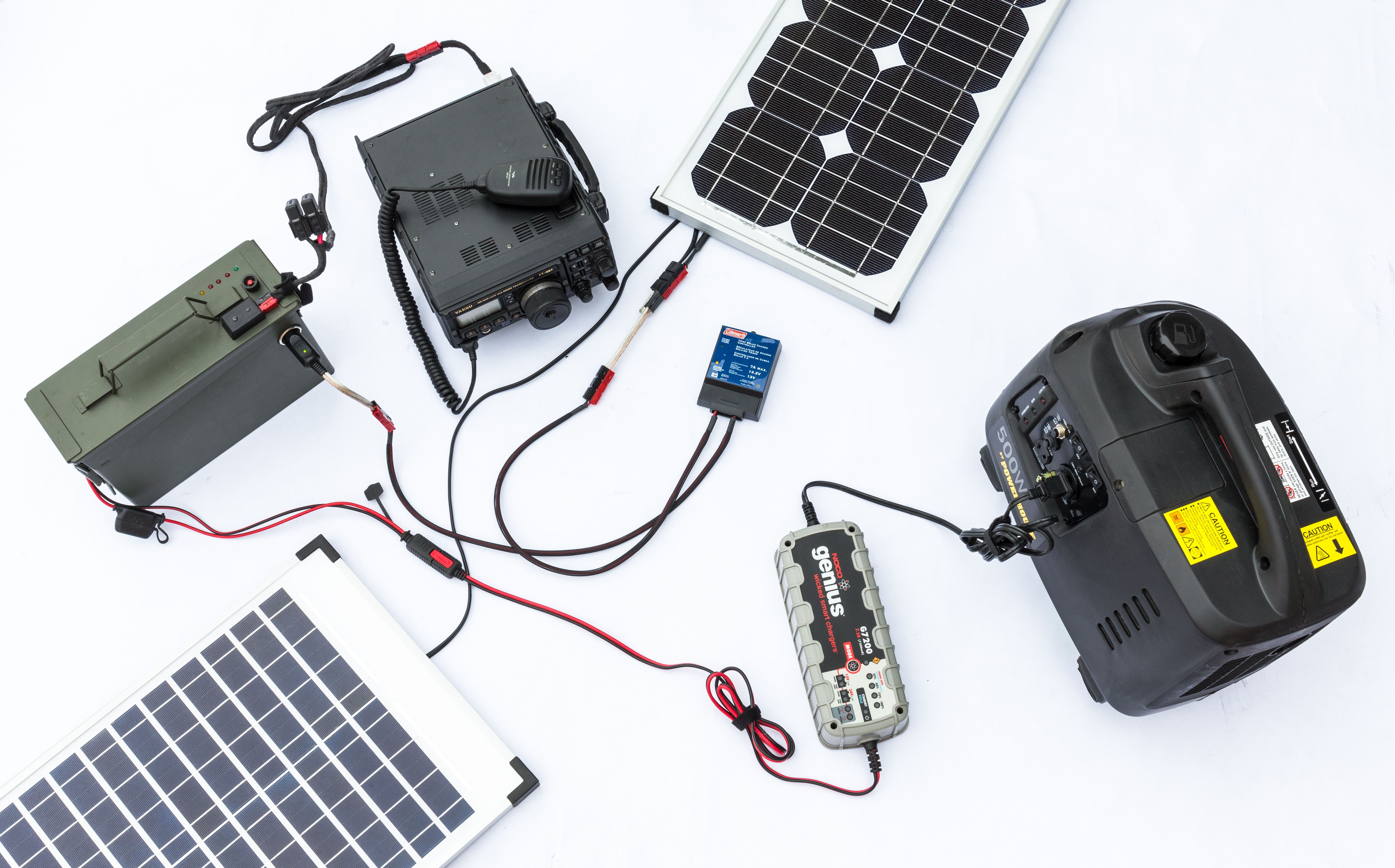 Ham Radio Devices That Work Together When Set Up For Field Operations The Yaesu Ft 897d Two 40 Watt Solar Panels Daisy C Solar Panel Cost Solar Charger Solar