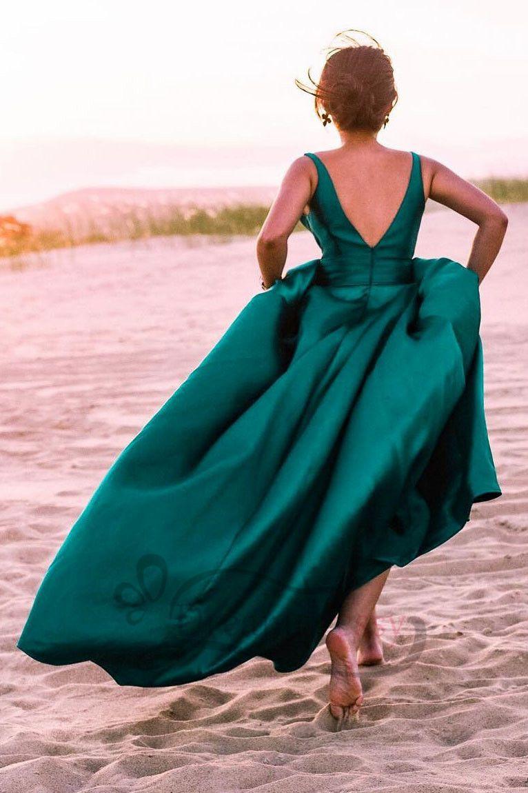 Green backless prom dress  Deep V Neck Emerald Green Long Prom Dress  Prom   Pinterest