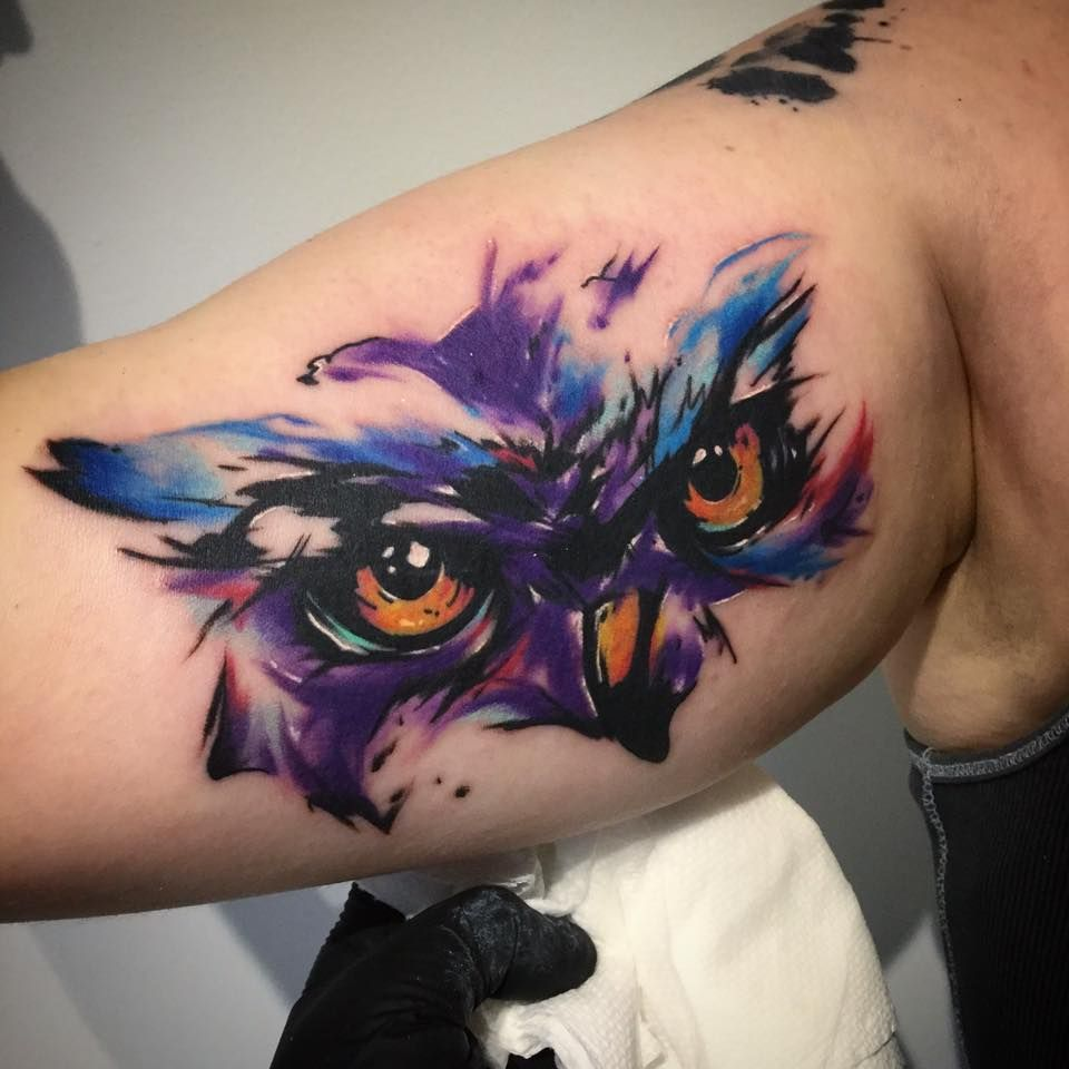 Watwrcolor Owl Tattoo On Arm Owl Tattoo Watercolor Owl Tattoos