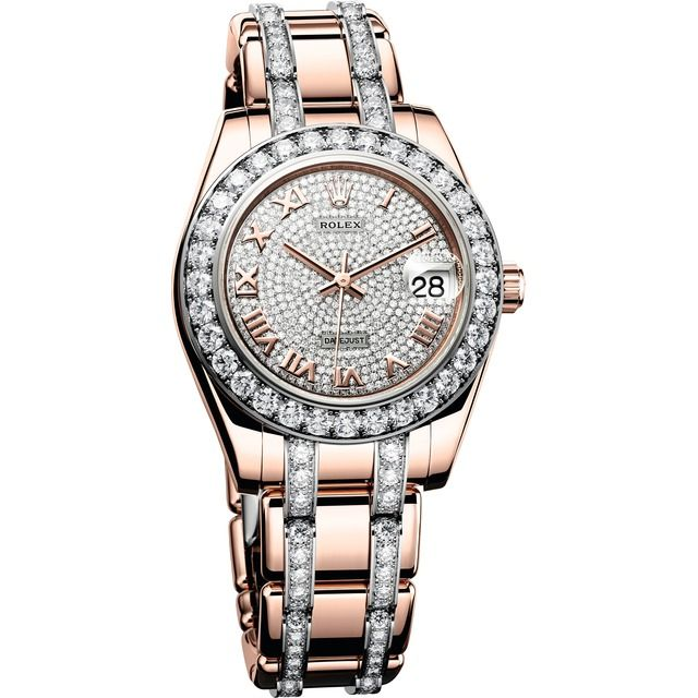 Rolex Oyster Perpetual Datejust Pearlmaster 34 Pavé Everrose Gold