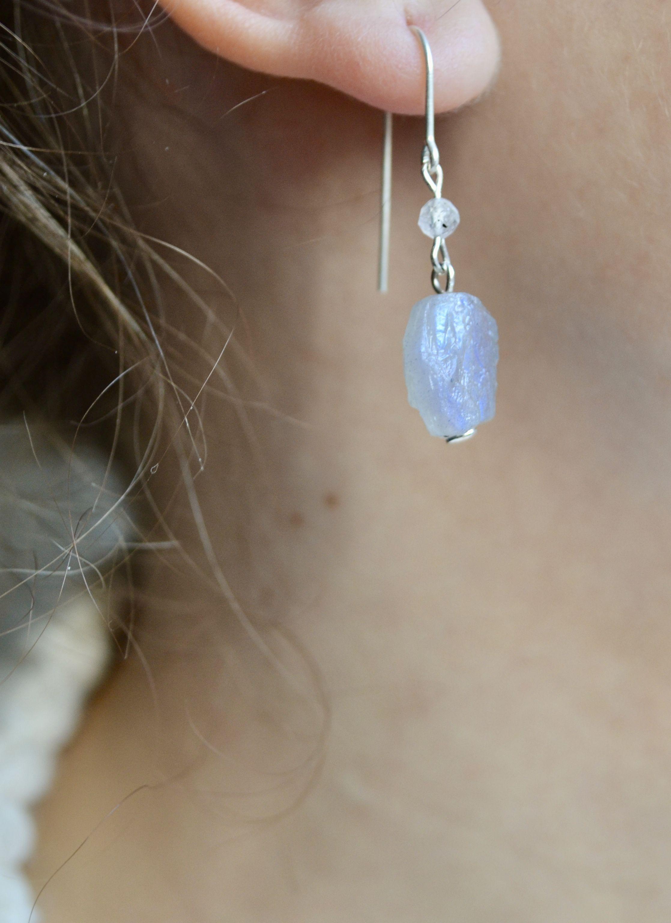 Black Moonstone Gemstone Stud Earring 925 Sterling Silver Labradorite