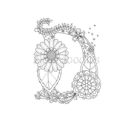 Malseite zum Ausdrucken Buchstabe D floral von