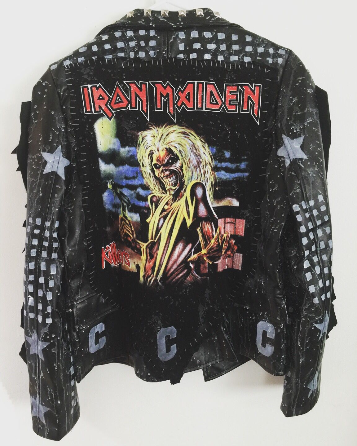 Iron Maiden jacket from Chad Cherry Clothing! Heavy metal jackets. Studded jackets. Custom rocker jackets.