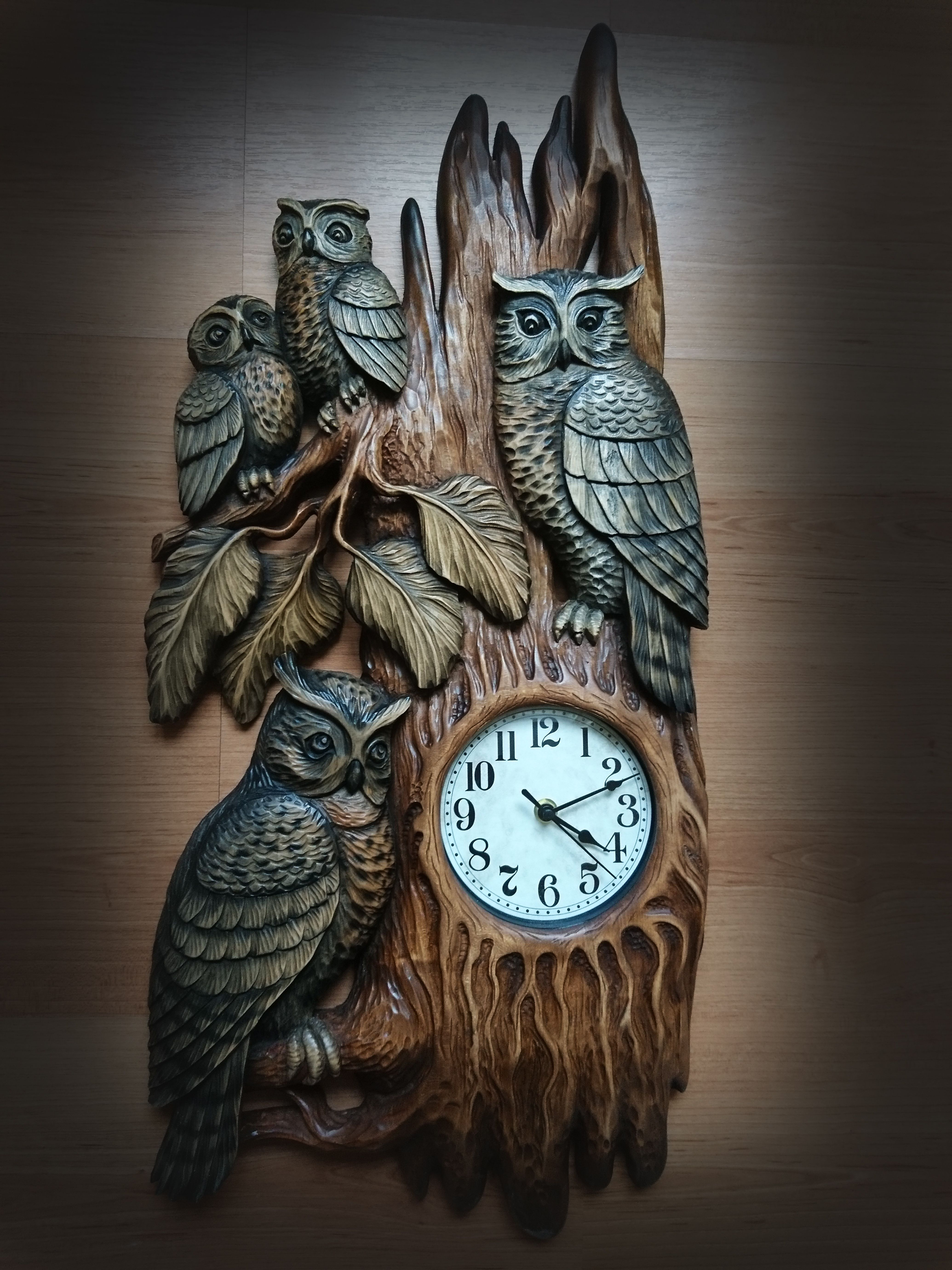 часы Совы | резьба | Изобразительное искусство из дерева ...