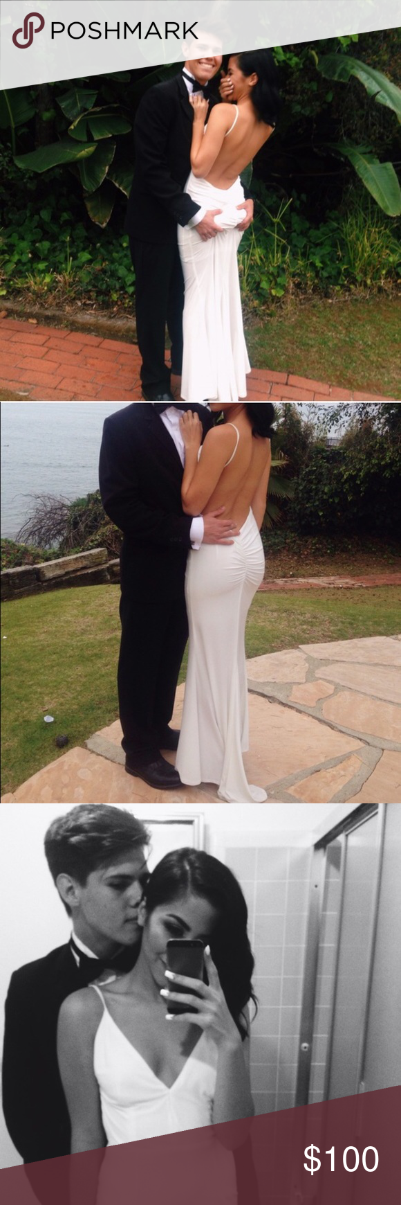 Gorgeous white backless prom formal dress pinterest backless