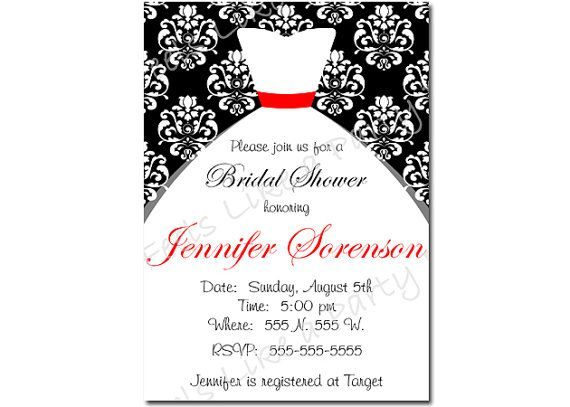 custom black white and red wedding dress bridal shower invite on etsy 1200