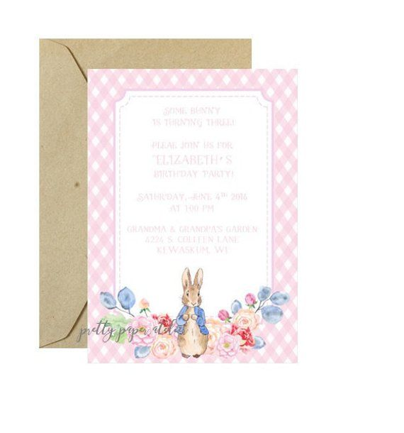 Peter Rabbit Birthday Invitation Girl Pink Gingham Floral Printable