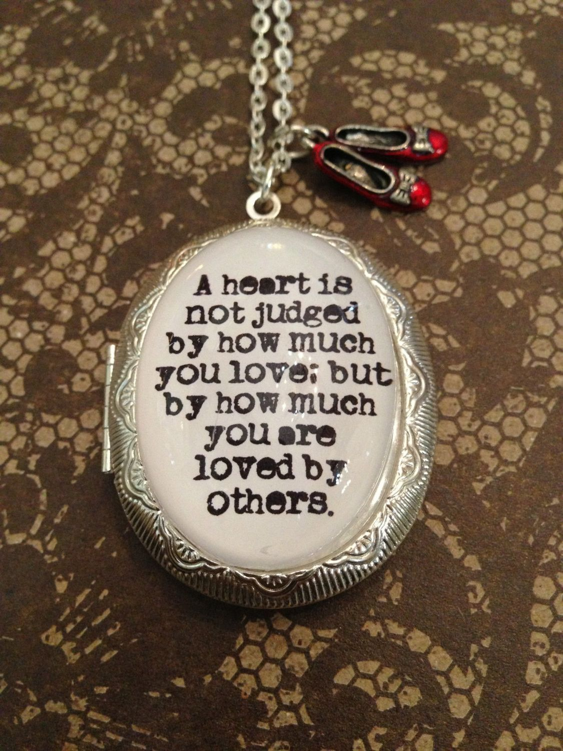 Wizard of oz quotes - Wizard Of Oz Quote Locket Necklace A Heart Is Not Judged By How Much You Love