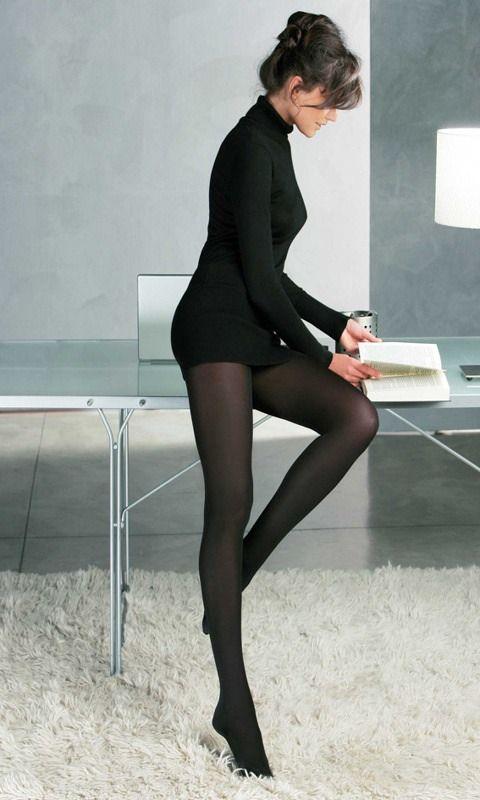 Black skirt pantyhose heels stories