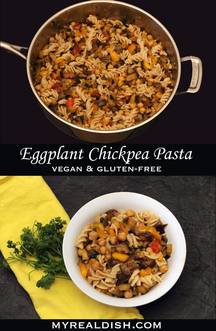 Eggplant chickpea pasta vegan glutenfree chickpea