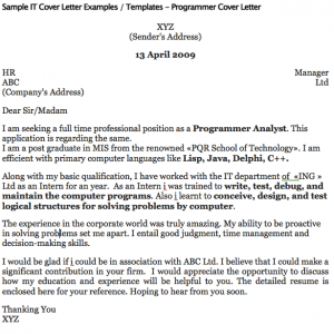 Sample It Cover Letter Examples  Templates  Programmer Cover