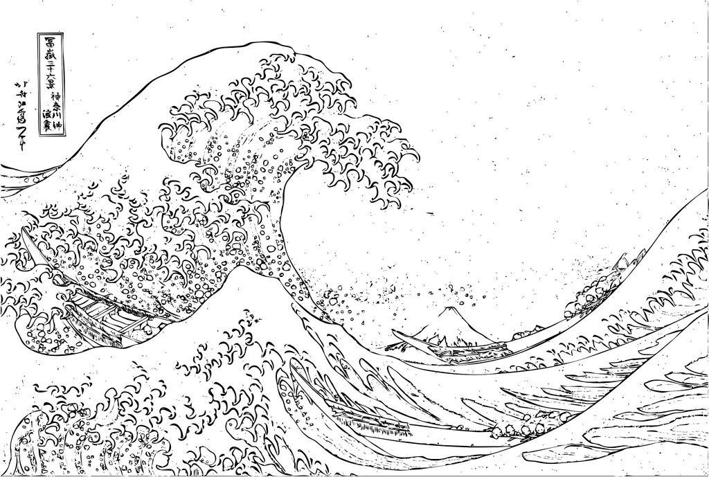 Kanawaga Wave Art Famous Art Coloring Hokusai Coloring Wave Art