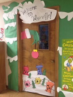 Grinch classroom door could model the whoville house bigger on the doors into the gym or along one wall. More poster board for the win! & grinch backdrop ideas - Google Search | Classroom | Pinterest ...