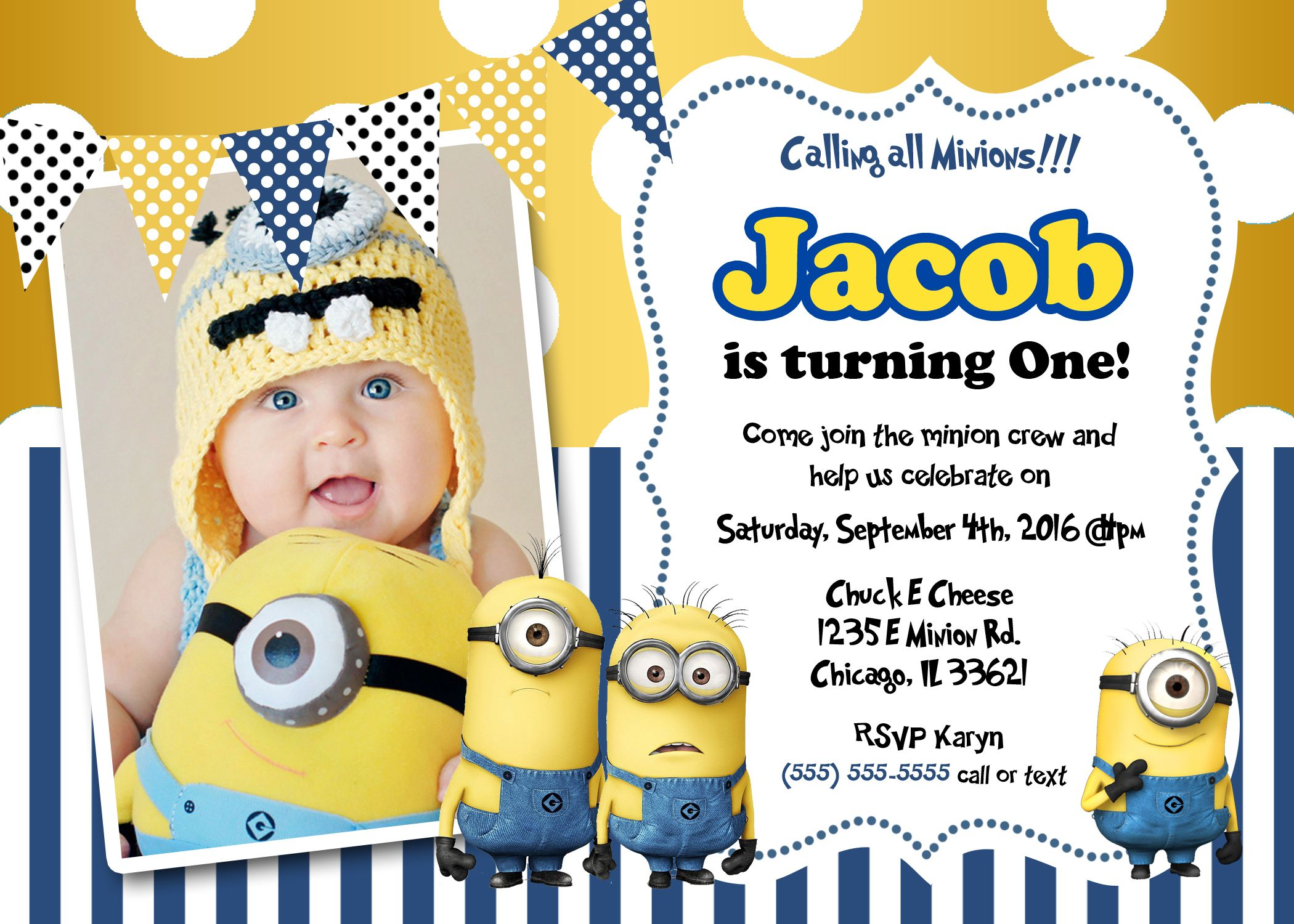 Create Own Minion Birthday Invitations Templates For Create Own