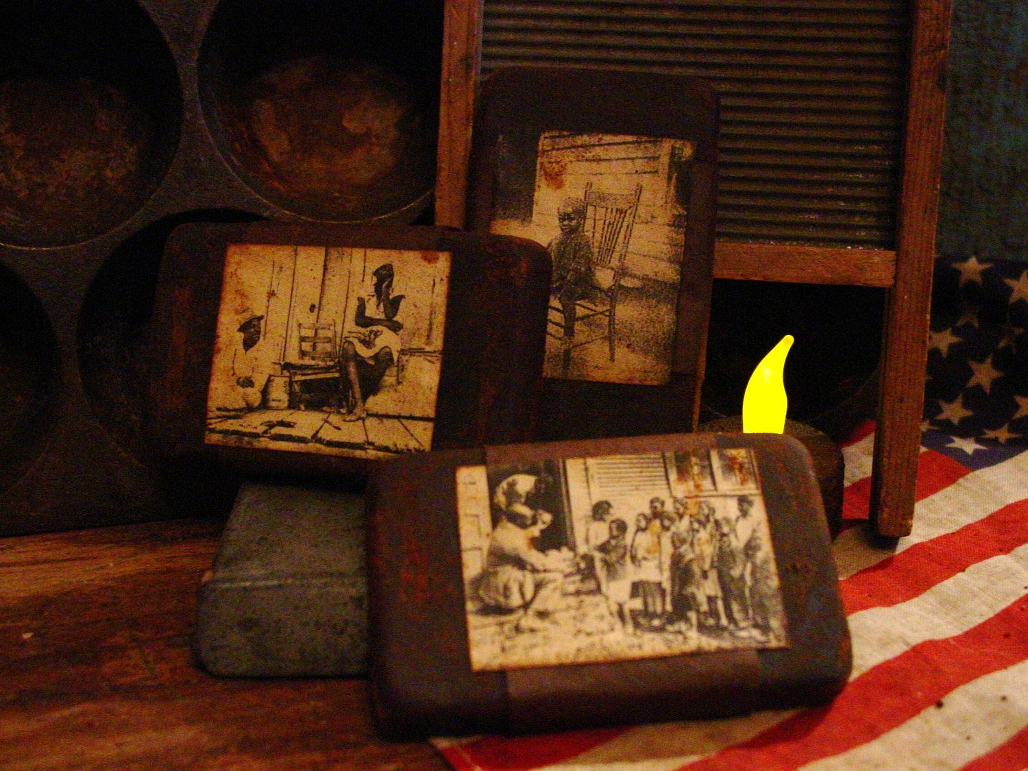 photographs covered in beeswax. love the vintage feel