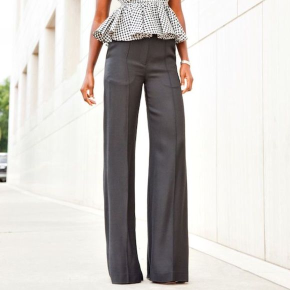 J. Crew | Dark Grey Wide Leg Ponte Detail Trousers NWT | Wide leg ...