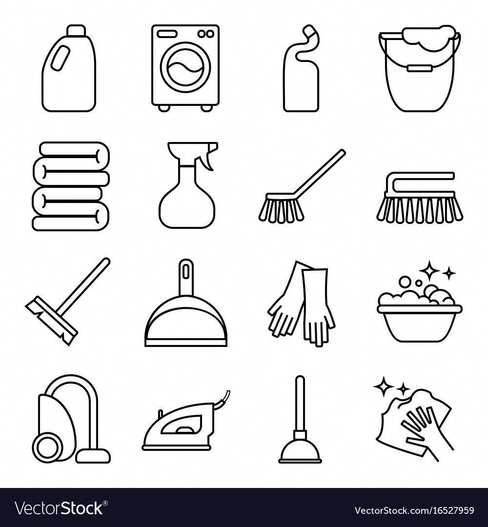 Set Of Isolated Cleaning Icon White Royalty Free Vector