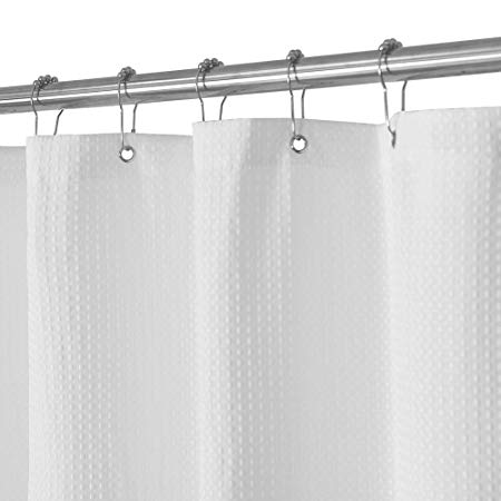 Amazon Com Waffle Weave Fabric Shower Curtain Spa Hotel Luxury Heavy Duty Water Repell Cool Shower Curtains Fabric Shower Curtains Plastic Shower Curtain