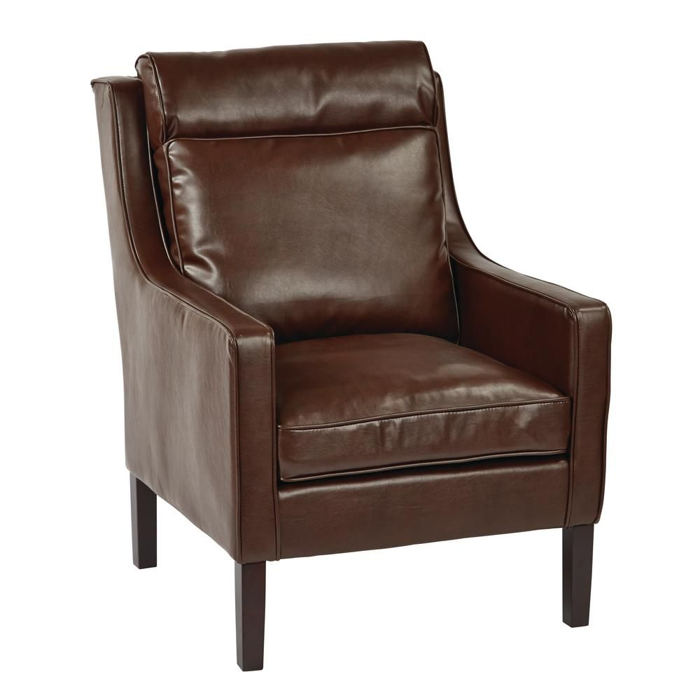 Osp Home Furnishings Colson Cocoa Bonded Leather Accent Chair With