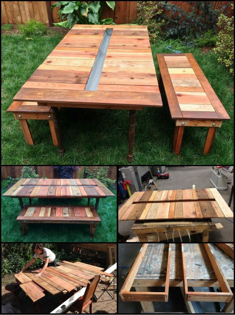 This Inexpensive Picnic Table Is Made From Reclaimed Timber, And Salvaged  Table Legs