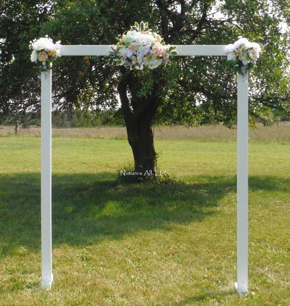 Rustic White Wedding Arch or Brides Entrance by NaturesAllLLC