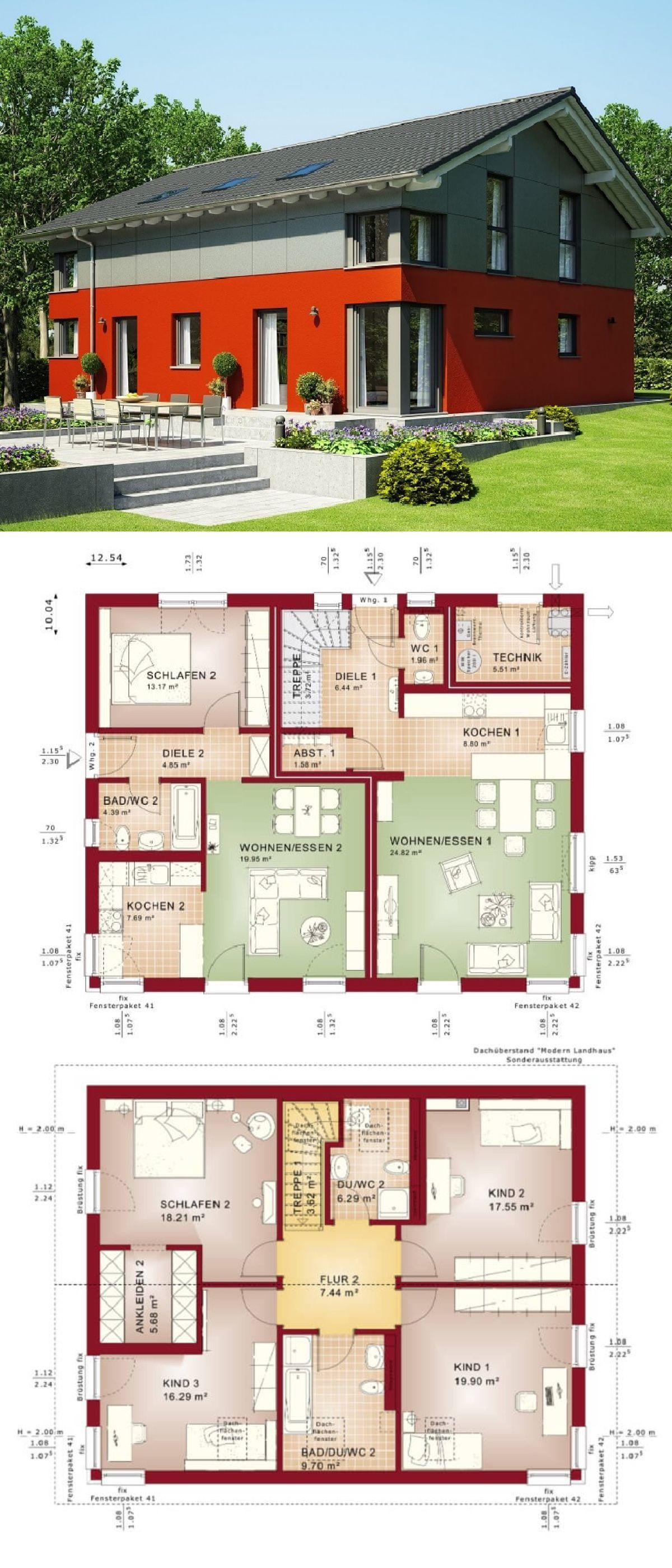Zweifamilienhaus modern mit einliegerwohnung satteldach for Minimalistisches haus grundriss