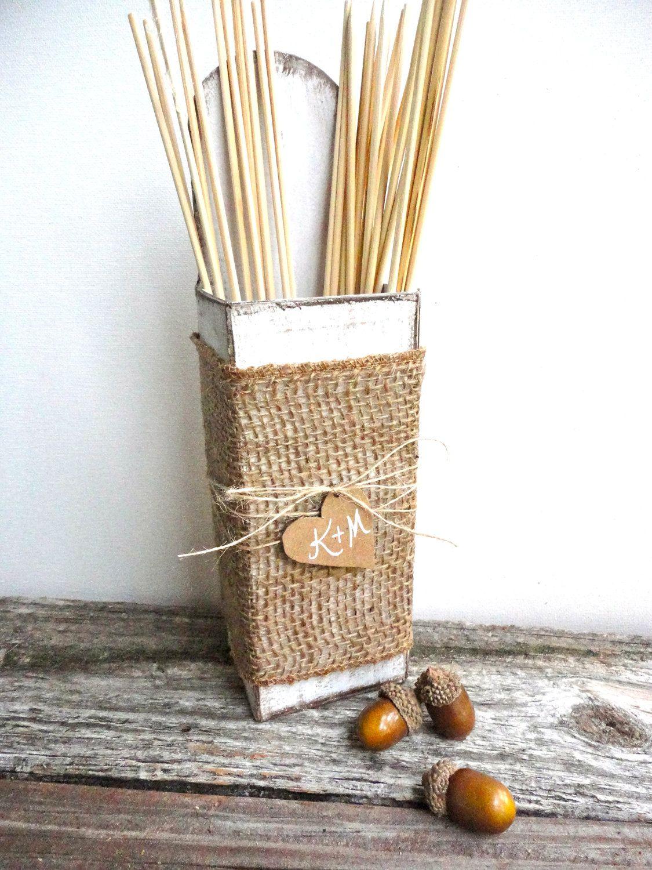 Burlap Wedding Sparkler Holder Box with Heart. 29.99, via