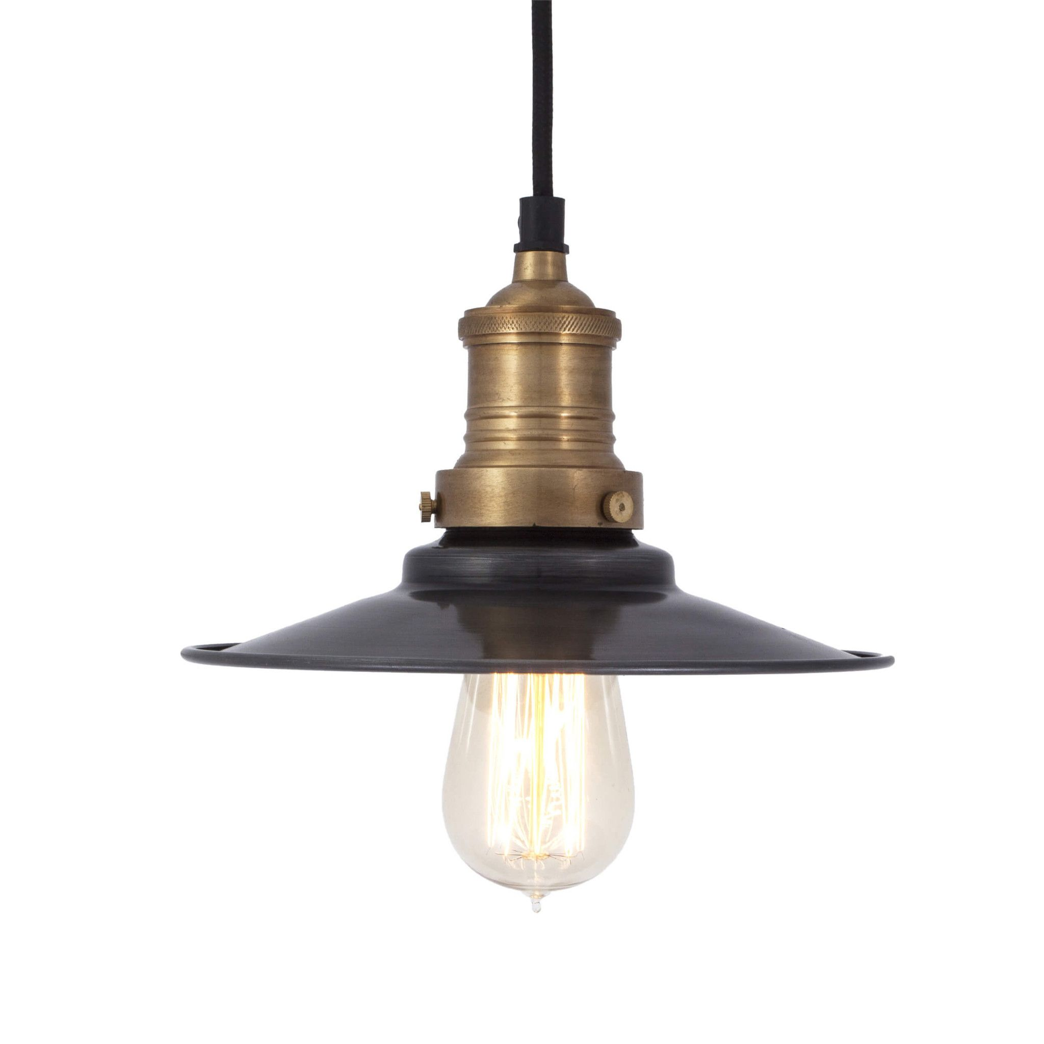Brooklyn antique flat industrial pendant light dark pewter