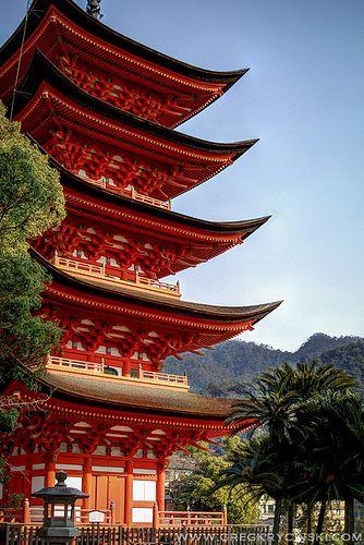 Pagoda in  Itsukushima Shrine, Hiroshima, Japan