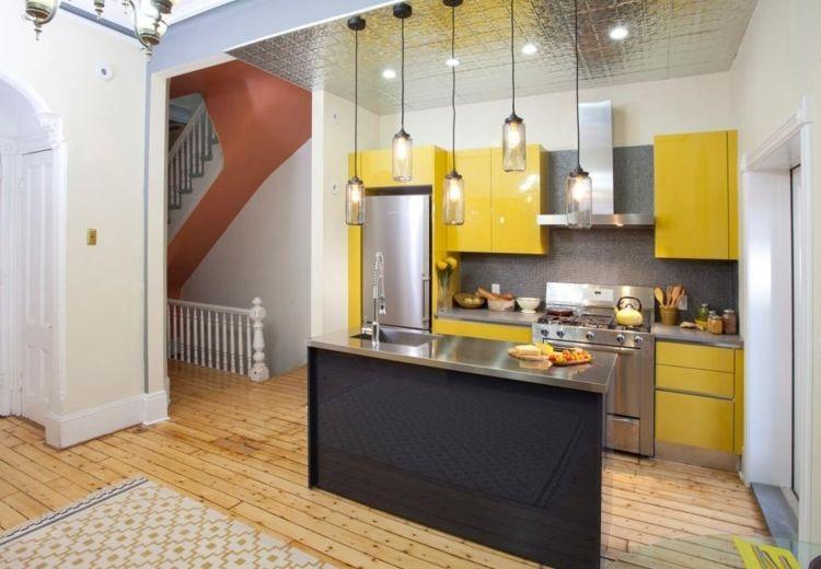 muebles cocinas pequeñas modernas amarilla | Mariposas | Pinterest