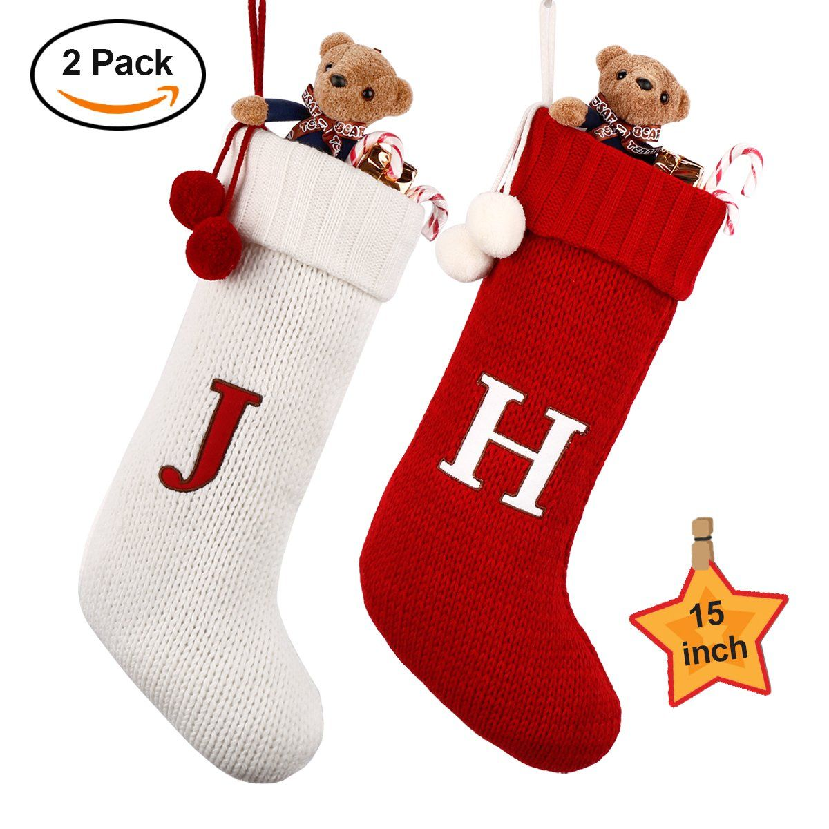 """Dpowro Knit Christmas Stockings with Initial, 15"""" Christmas Hanging ..."""