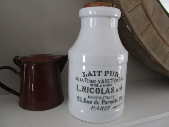 French Ceramic Milk Bottle Vintage Farmhouse By
