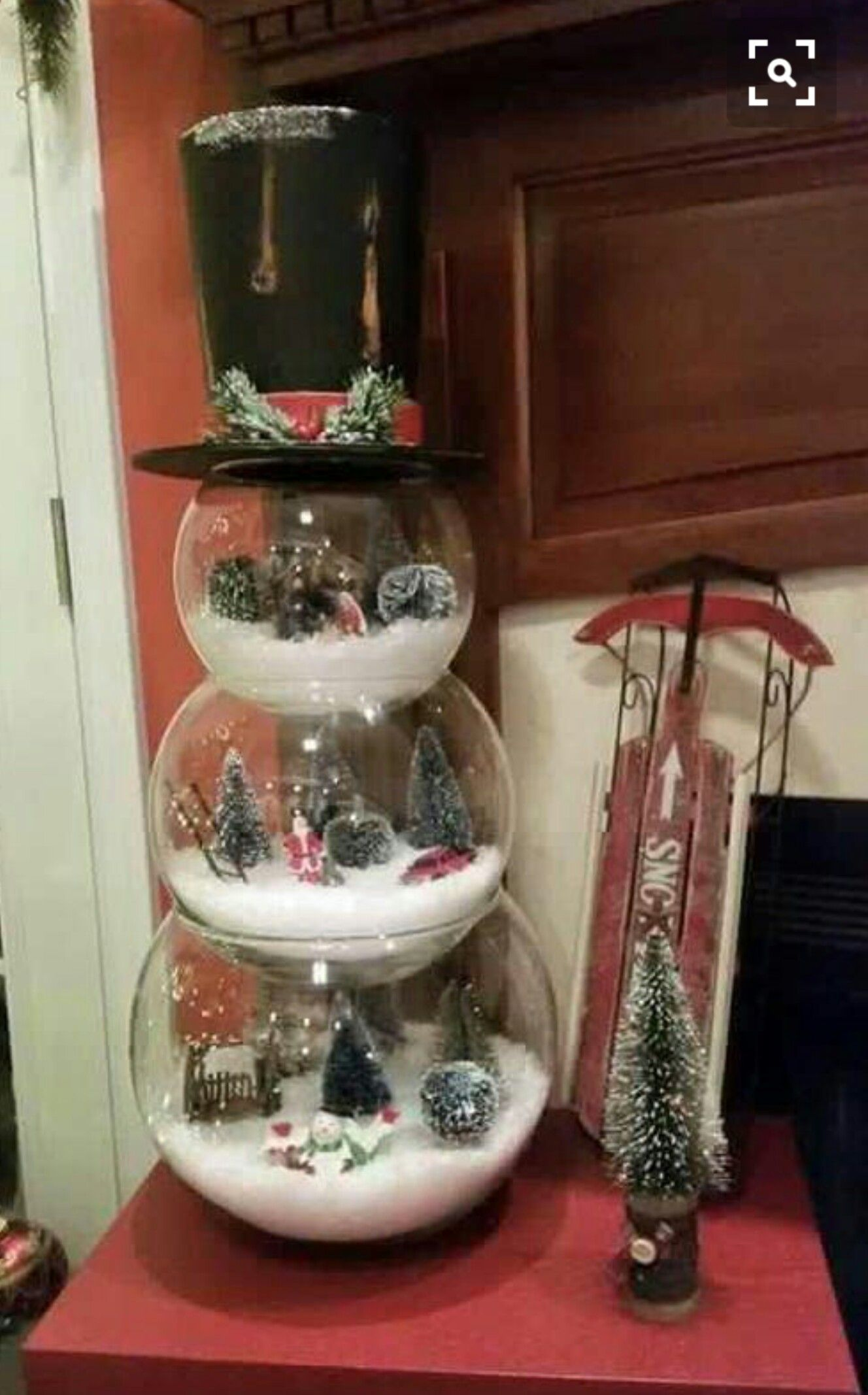 Fish Bowl Snowman Using 3 Diffe Size Bowls Create Your Winter Wonderland Scene And Top It With A Hat Sorry No Instructions But You Get The