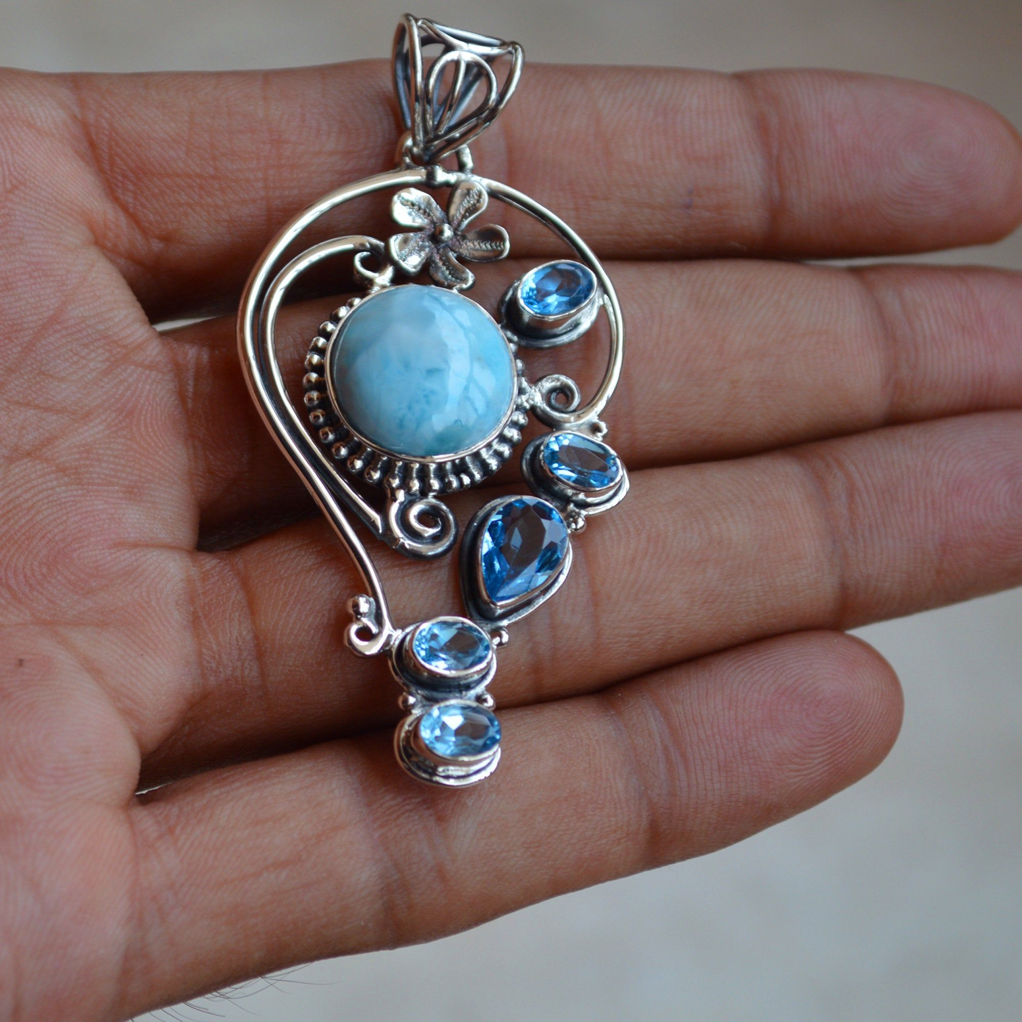 Larimar pendent silver jewellery Larimar 92.5 sterling silver pendent jewelry stone