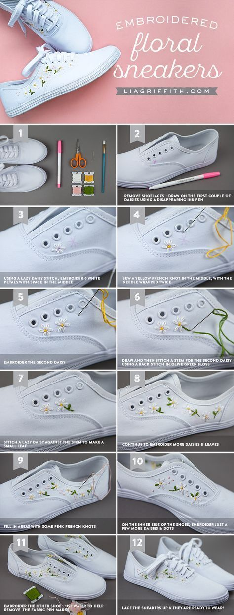 Make your own daisy embroidered sneakers for spring