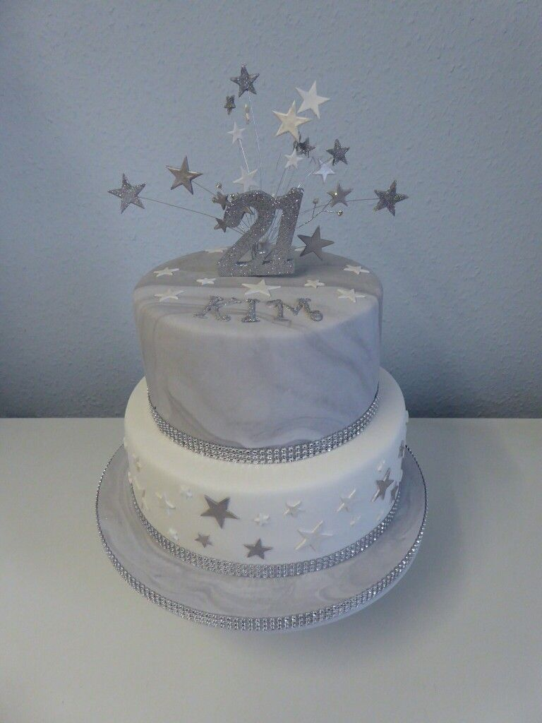 2 Tier 21st Birthday Cake With Silver And White Marble Effect 21st