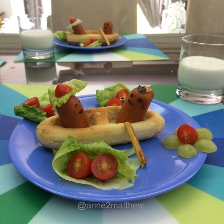 Creative Mother Builds and Photographs Elaborate Diorama Breakfasts Made From Hot Dogs for Her Children