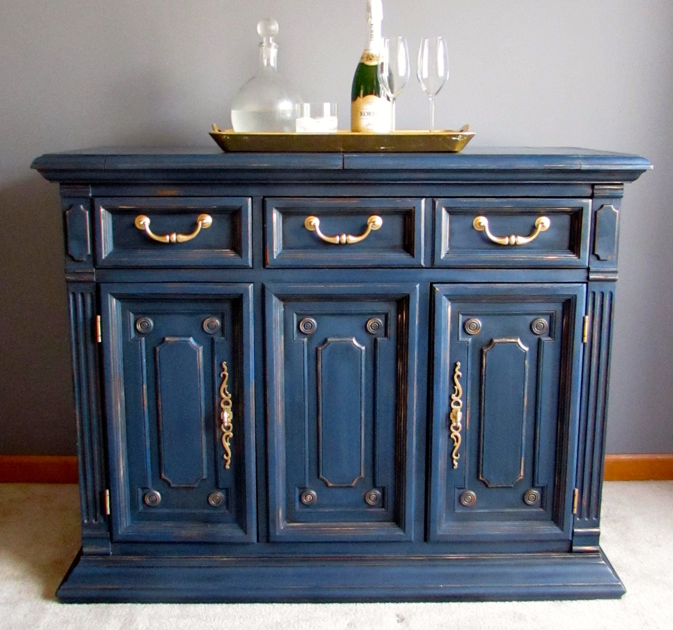 Astounding Sideboard Buffet Was Painted In Napoleonic Blue Chalk Paint Download Free Architecture Designs Embacsunscenecom