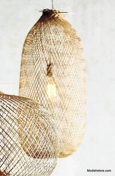 Lumina Bamboo Handwoven Pendant Lamps Round Oblong Pendant