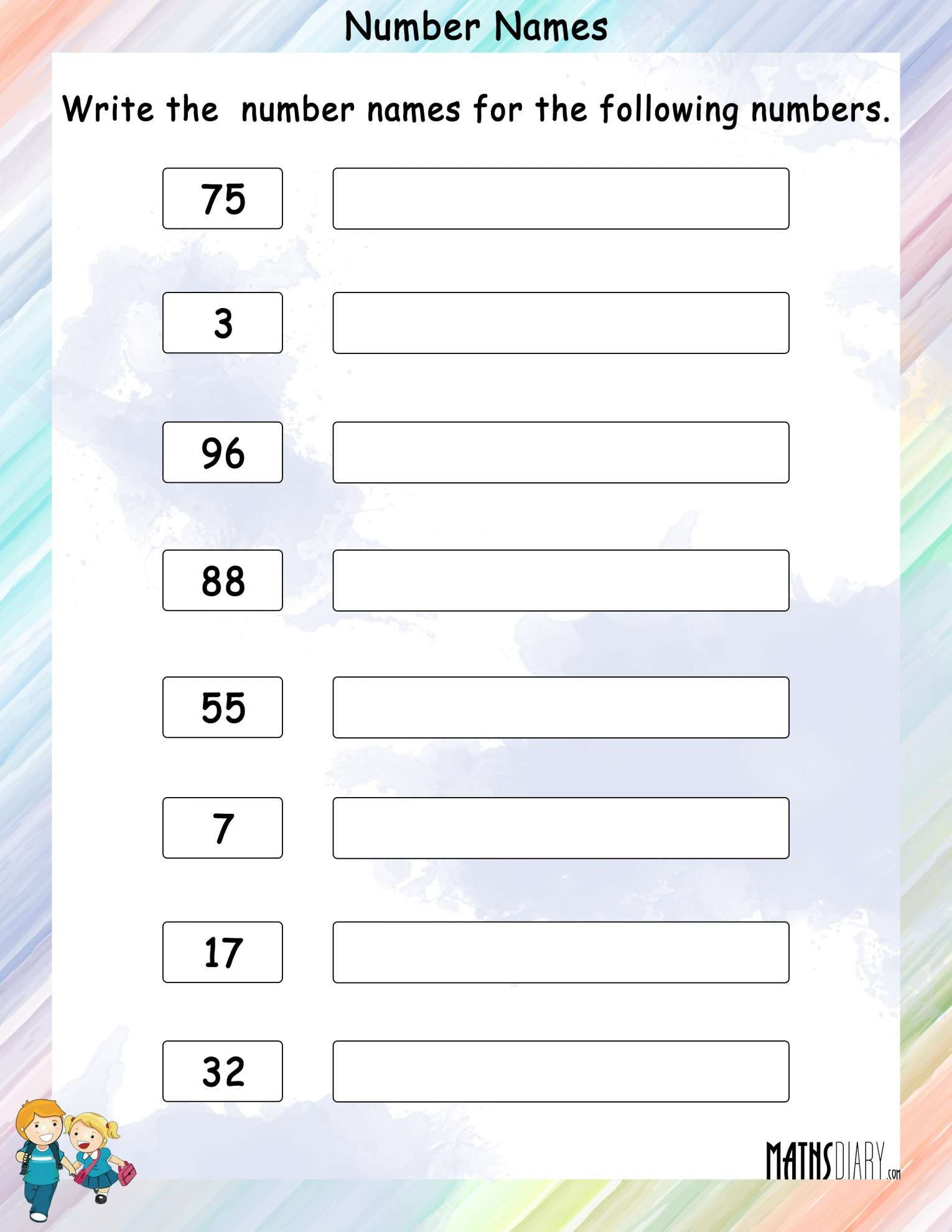 12 Kindergarten Number Names Worksheet