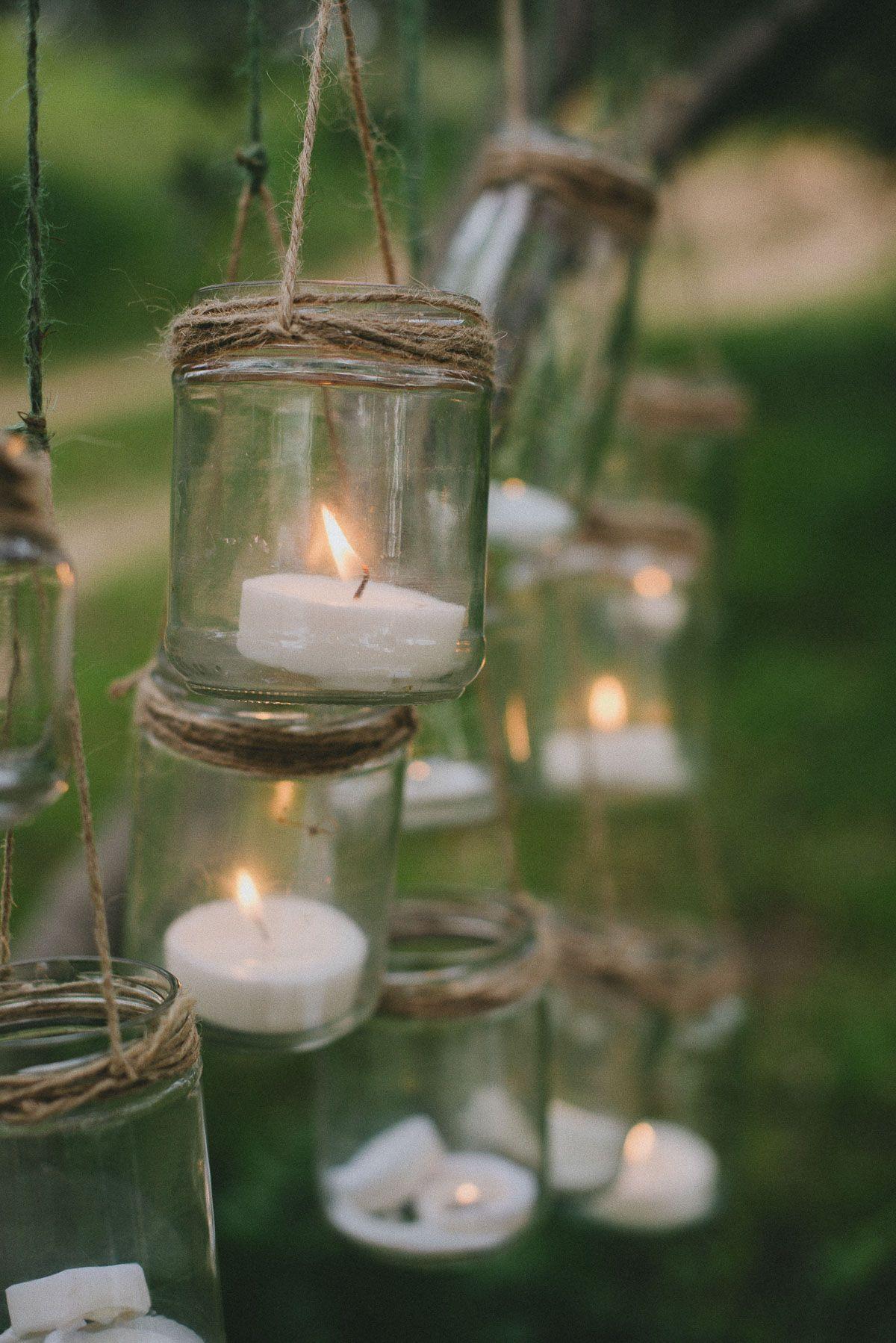 Detalle decoraci n cristal con velas inspiraci n boda mediterr nea pinterest boda - Farolillos para velas ...