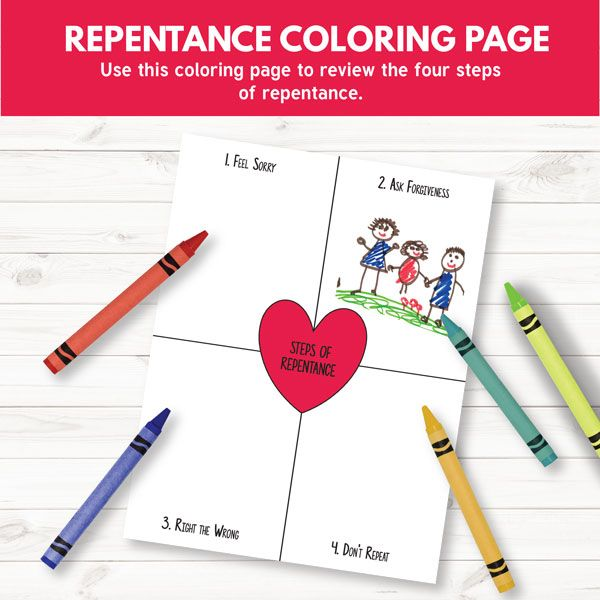 repentance coloring page great for primary 3 lesson 10 repentance - Coloring Pages Primary Lessons