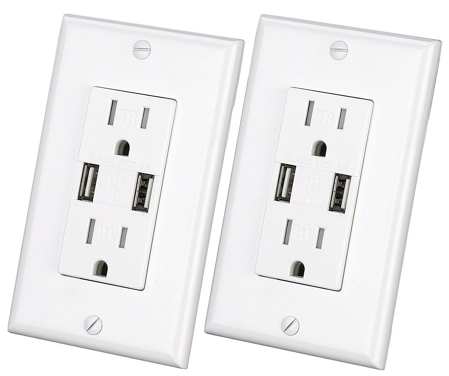 USB Charger Wall Outlet Dual High Speed Duplex Receptacle 15-Amp ...
