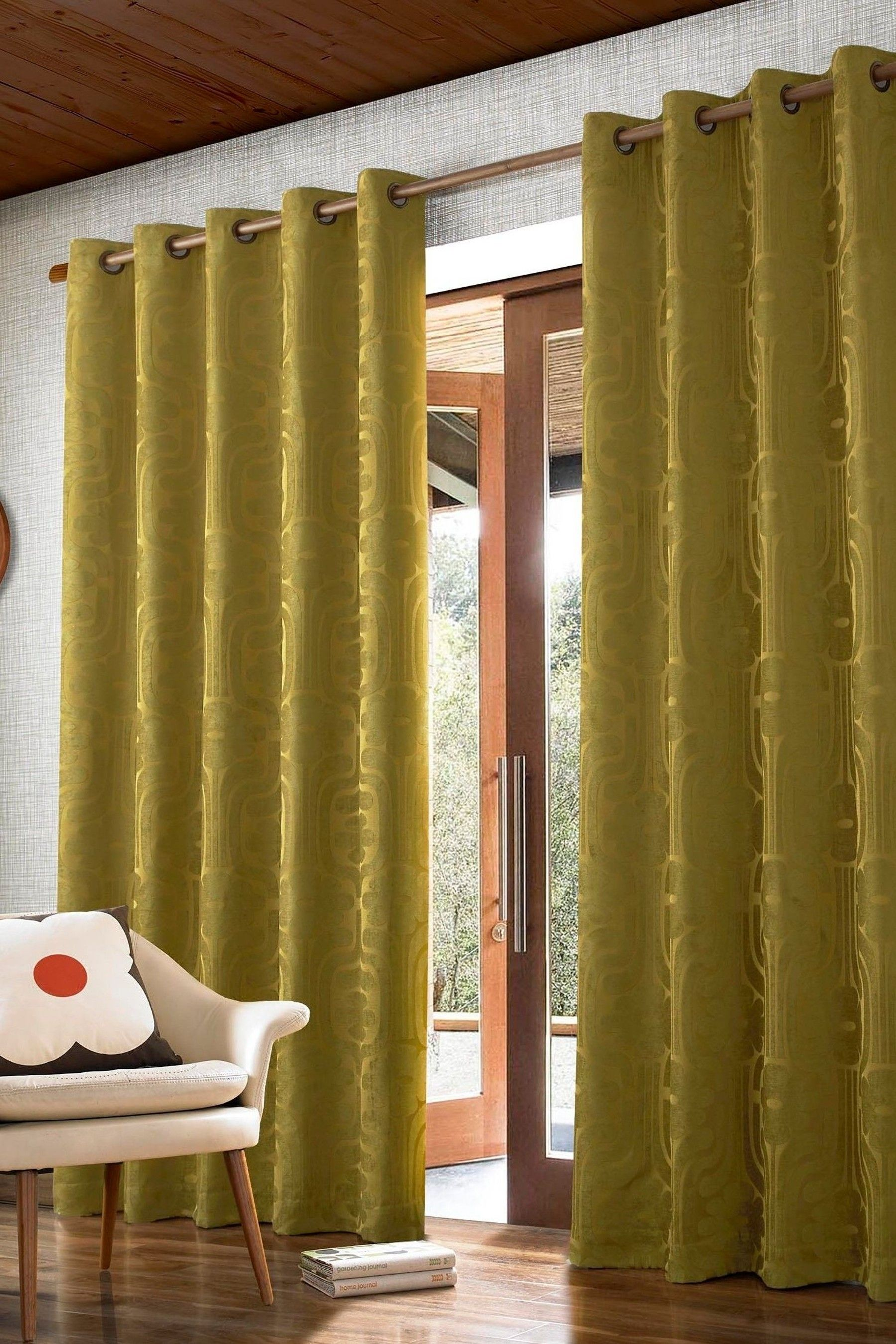 Orla Kiely Climbing Daisy Jacquard Lined Eyelet Curtains Curtains Home Decor Orla Kiely