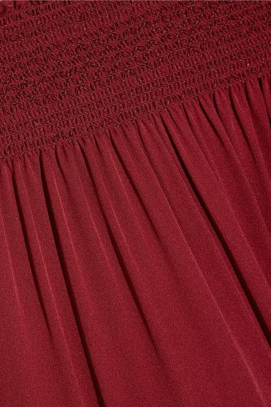 6a90a610b5d Theory - Off-the-shoulder Smocked Silk-jersey Midi Dress - Claret - x small